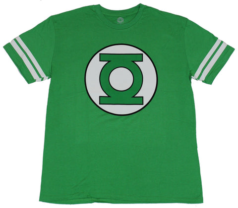 Green Lantern (DC Comics) Mens T-Shirt - Classic Logo With Striped Sleeves Image