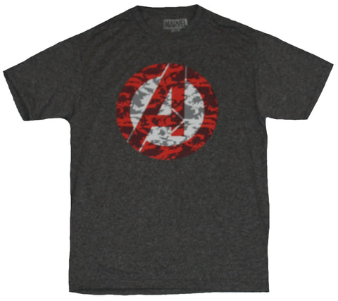 The Avengers Marvel Comics Moisture Wicking Mens T-Shirt - Red & White Camo Logo