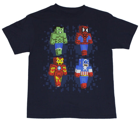 Marvel Comics Mens T-Shirt  - Block-Pixel Walking Spidey, Hulk, Iron Man & Cap