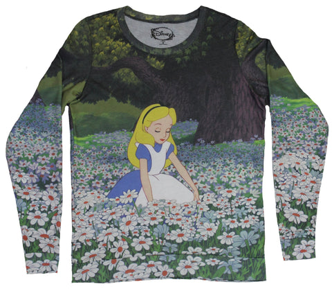 Alice in Wonderland Girls Juniors Light Sweatshirt - Alice in a  Floral Field