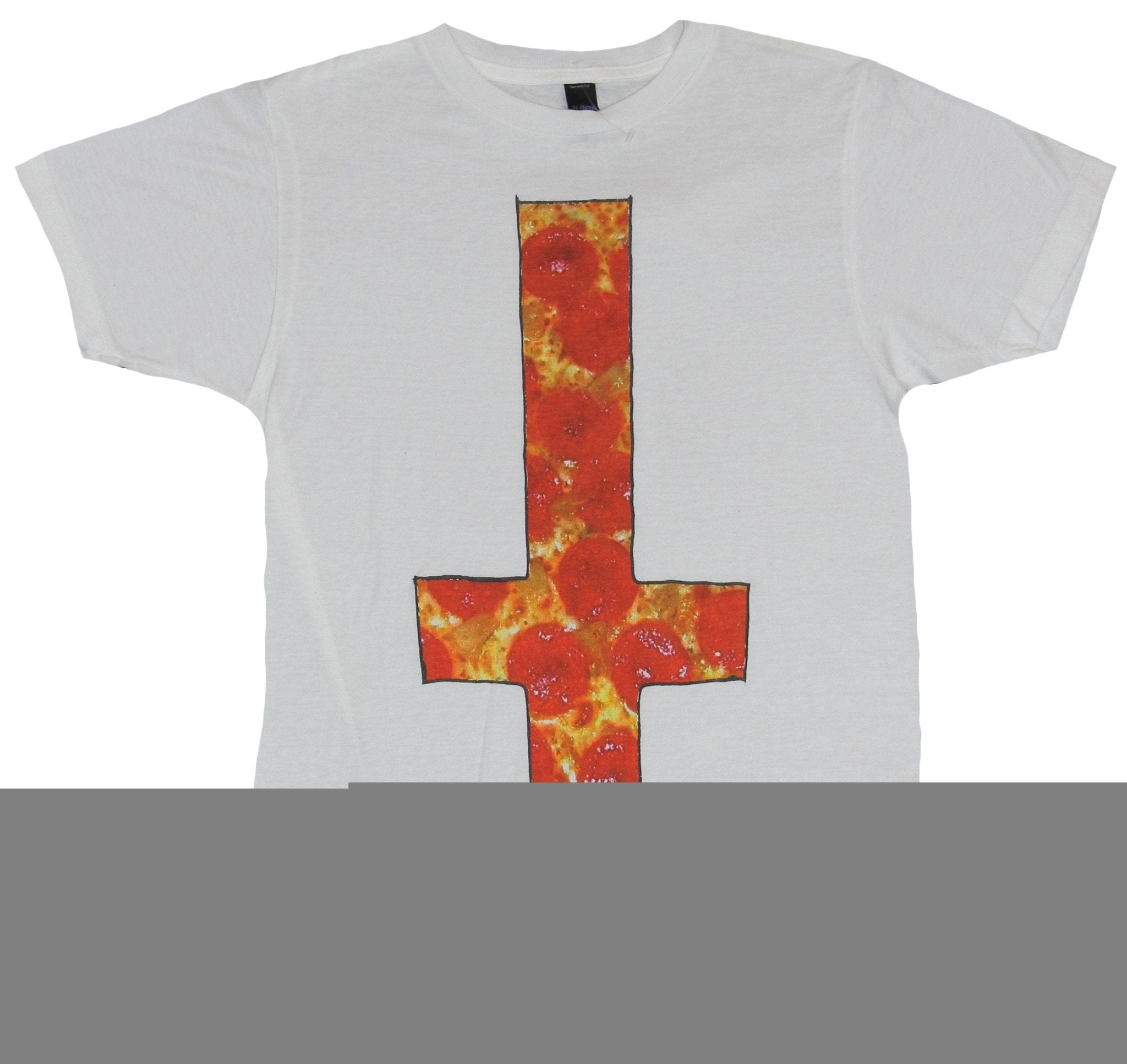 The Plot in You Mens T-Shirt- Upside Down Orange Yellow Cross Image