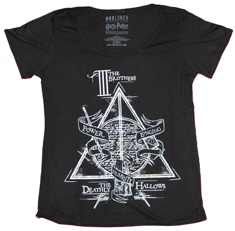 Harry Potter Girls Juniors T-Shirt - Three Brothers Deathly Hallows Image