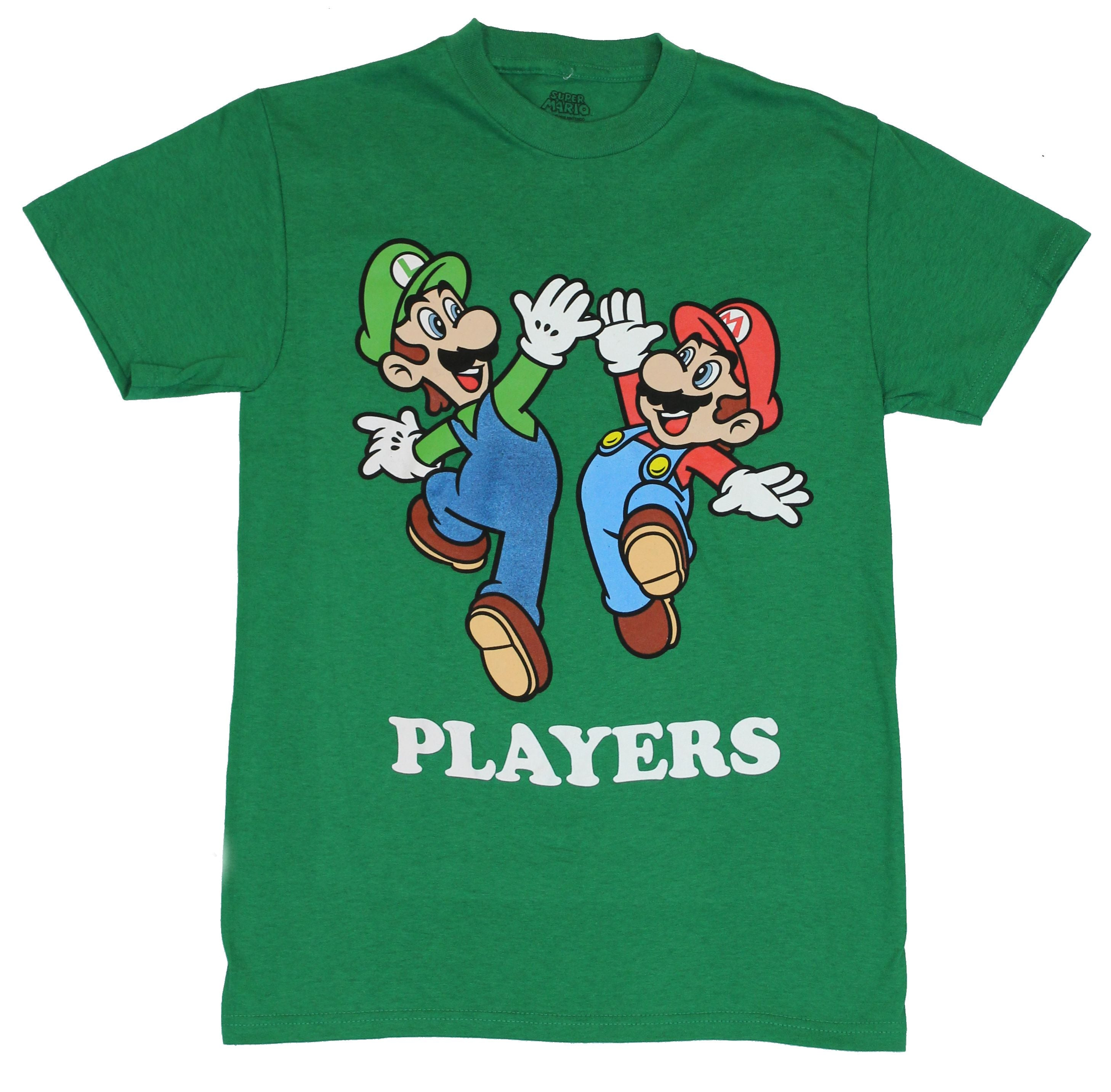 "Super Mario Brothers (Nintendo) Mens T-Shirt - ""Players"" Luigi Mario High Five"