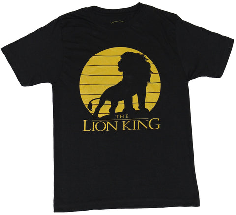 The Lion King Mens T-Shirt - Yellow Silhouette King Simba Image