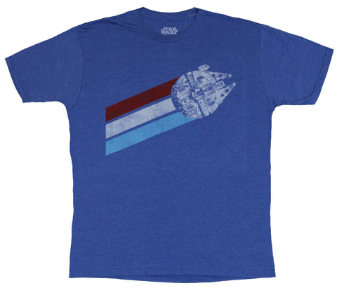 Star Wars Mens T-Shirt - Milenium Falcon Distressed Red White and Blue Fly logo