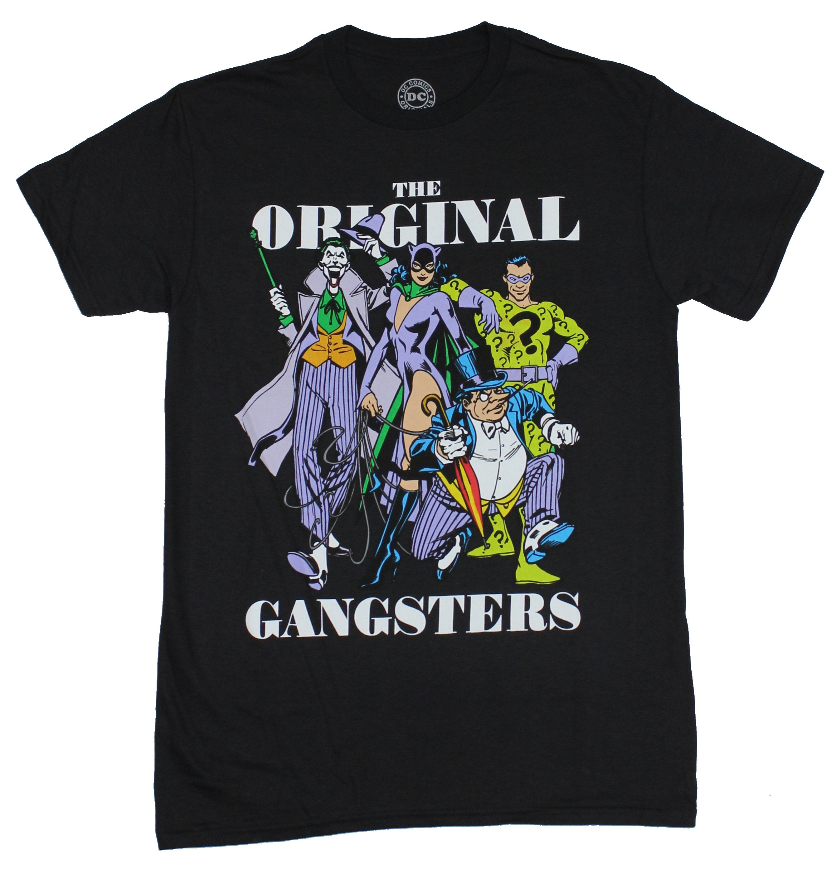 Dc Comics Mens T-Shirt - Original Gangsters Joker Penguin Catwoman Riddler