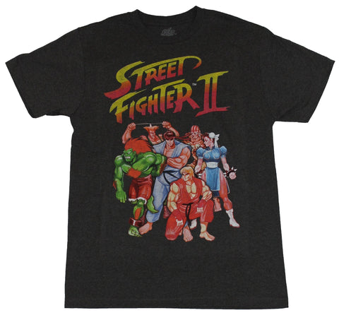 Street Fighter II Mens T-Shirt - Classic Group Cover Art Image
