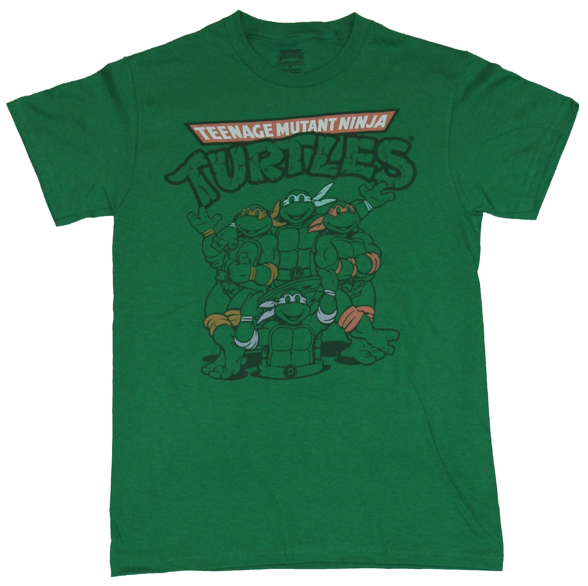Teenage Mutant Ninja Turtles Mens T-Shirt - Line Drawn Turtles Around Manhole