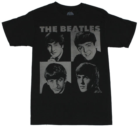 The Beatles Mens T-Shirt - Early 60s Black and White Four Photo Box Image
