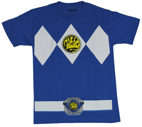 Mighty Morphine Power Rangers Mens T-Shirt  - Blue Ranger Costume Front