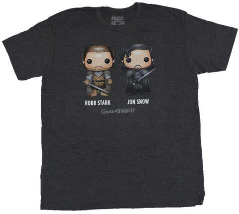 Game of Thrones Mens T-Shirt - Robb Stark & Jon Snow Funko Pop Style Duo Image