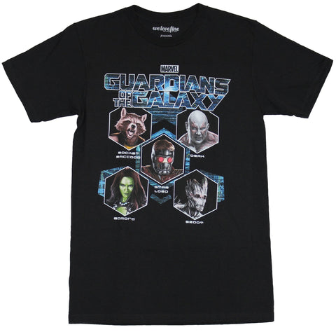 Guardians of the Galaxy Mens T-Shirt - Hexagonal Heads Front Line Up Back Image