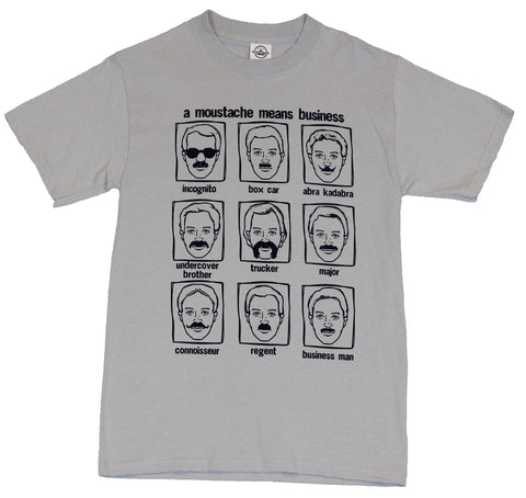 Moustache Styles Mens T-Shirt  - Multiple Moustaches Defined Image on Gray