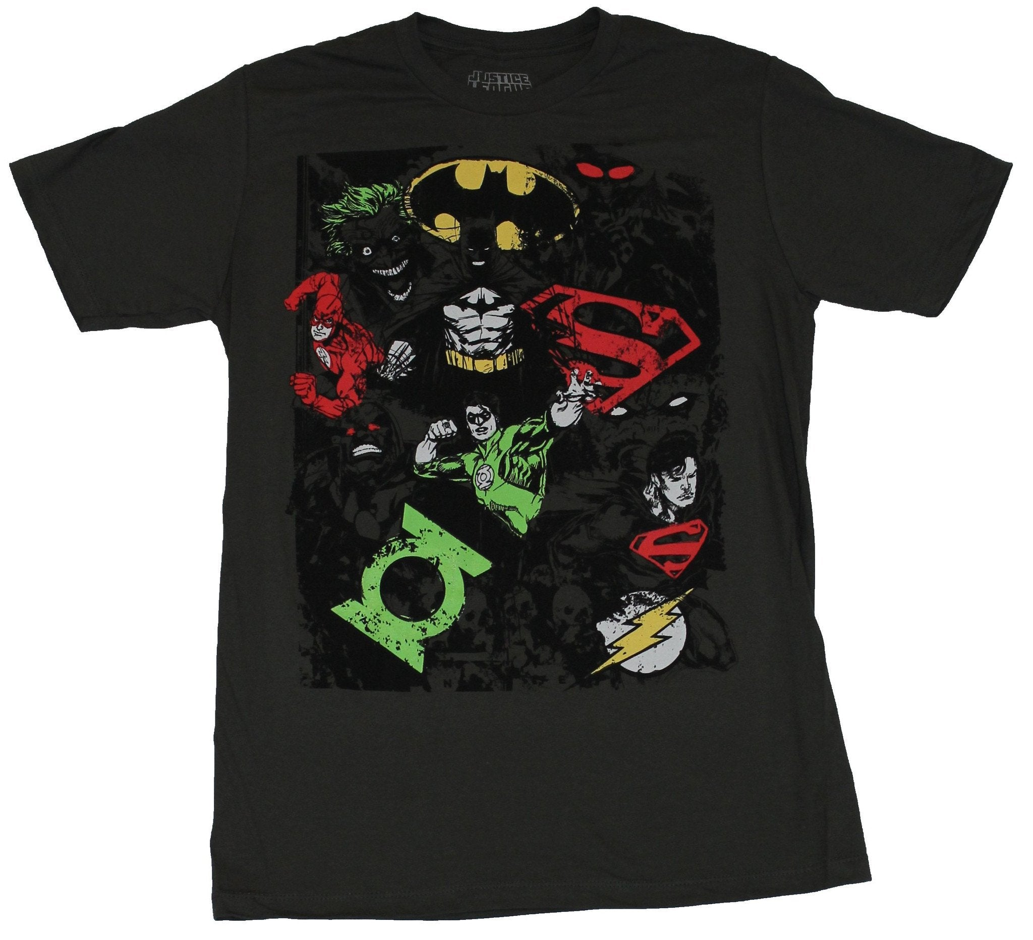 Justice League Mens T-Shirt - Distressed Sketchy Chaos Heroes Villains & Logos
