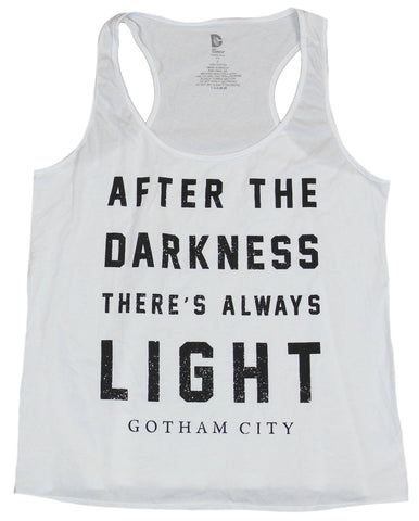 Gotham Womens T-Shirt  - After the Darkness There's Always Light Word Image