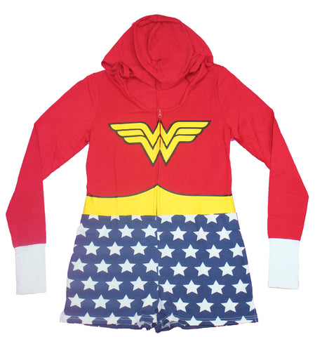 Wonder Woman Girls Juniors Skirted Hoodie - Costume Cosplay Retro Look