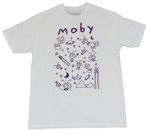 Moby Mens Long Sleeve T-Shirt  - Alien Drawings All Over on White