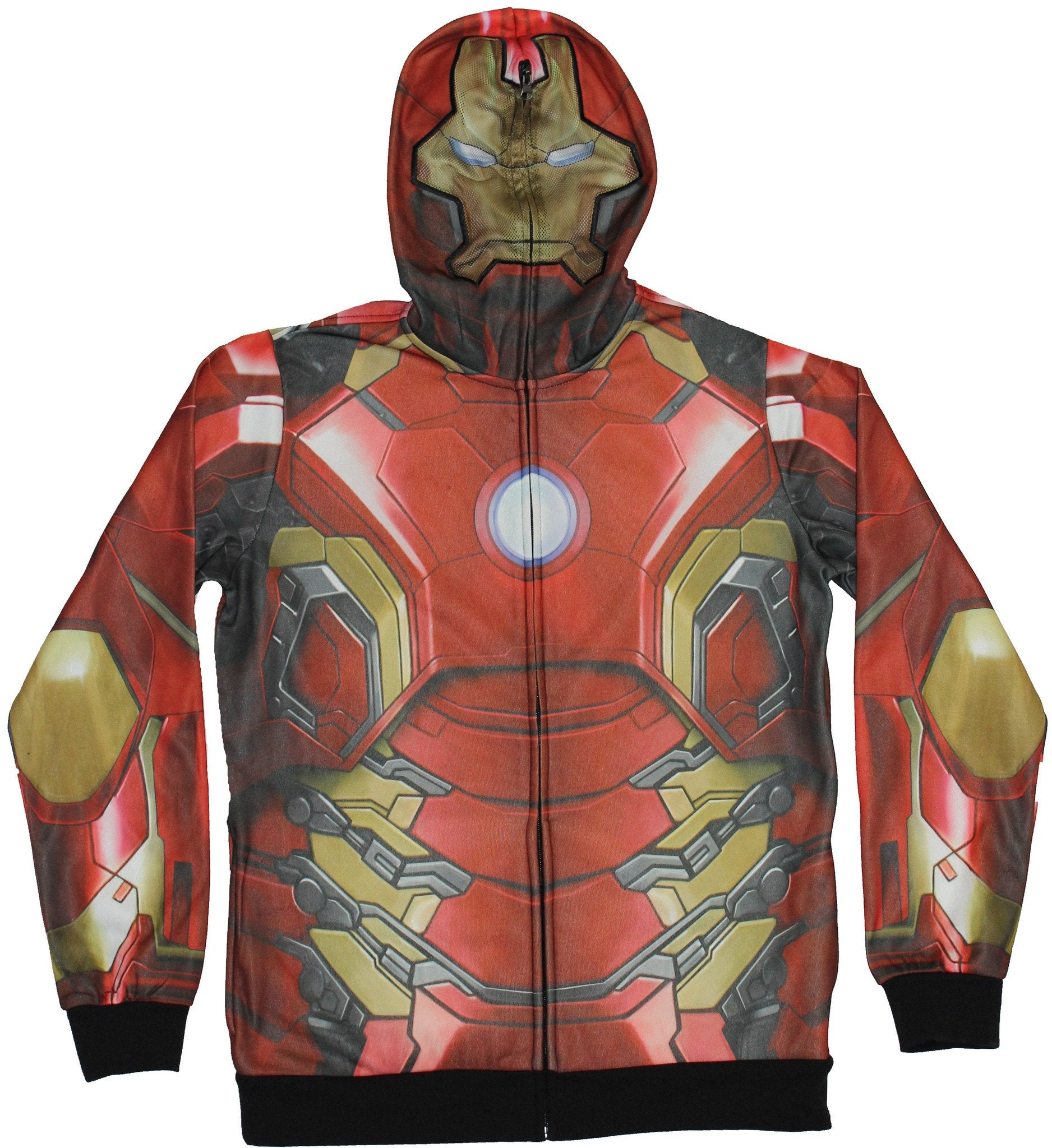 Iron Man  Avengers Mens Zip Up Hoodie -  Sublimation Red gold Costume Front