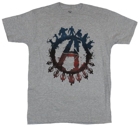 Avengers (Marvel Comics) Mens T-Shirt - Logo Circled By Character Silhouettes