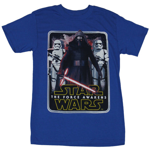 Star Wars Force Awakens Mens T-Shirt - Kylo Ren Stormtrooper Flanked Boxed Image