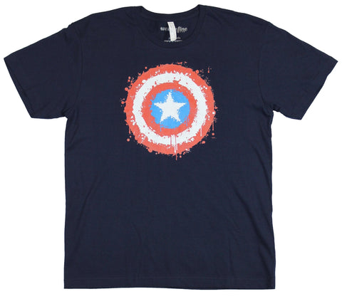 Captain America (Marvel)  Mens T-Shirt - Classic Shield Made of Little Splats