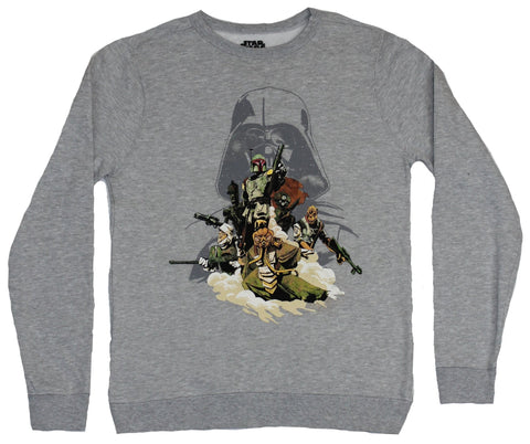 Star Wars Mens Crewneck Sweatshirt - Boba Fett & Bounty Hunters New Hope Style