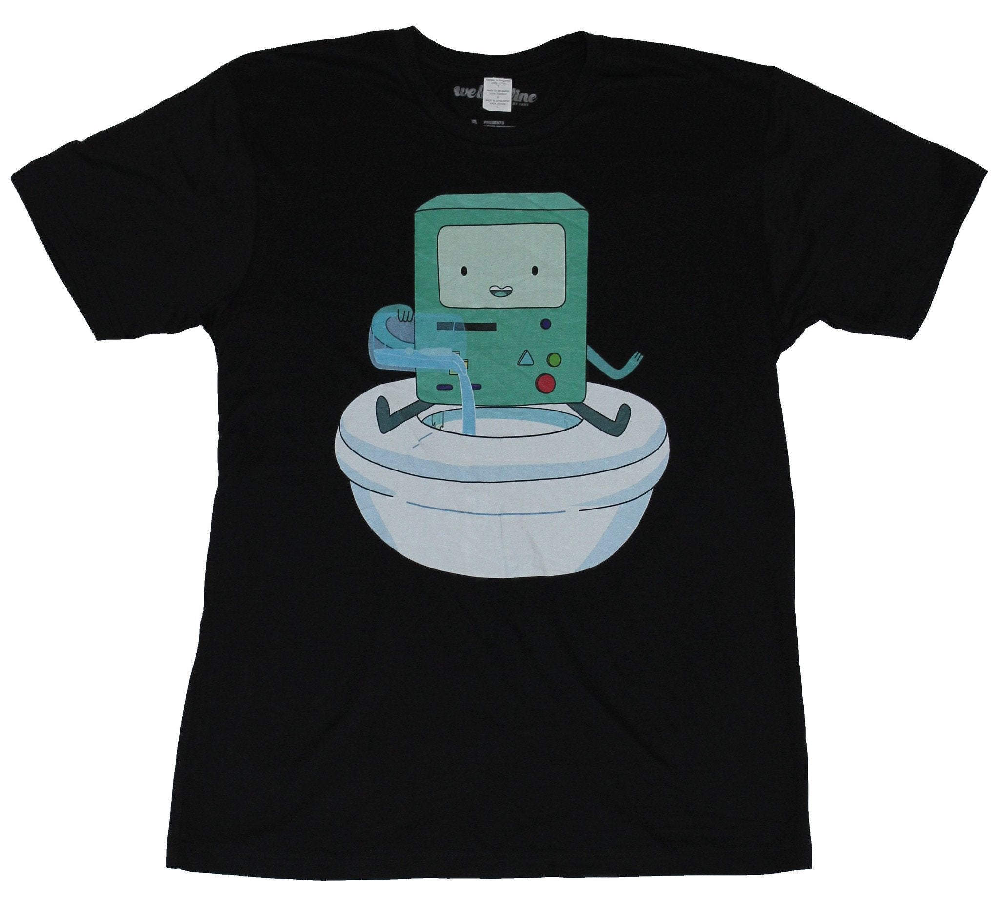 Adventure Time Mens T-Shirt - BMO Pouring Water in A White Bowl Image