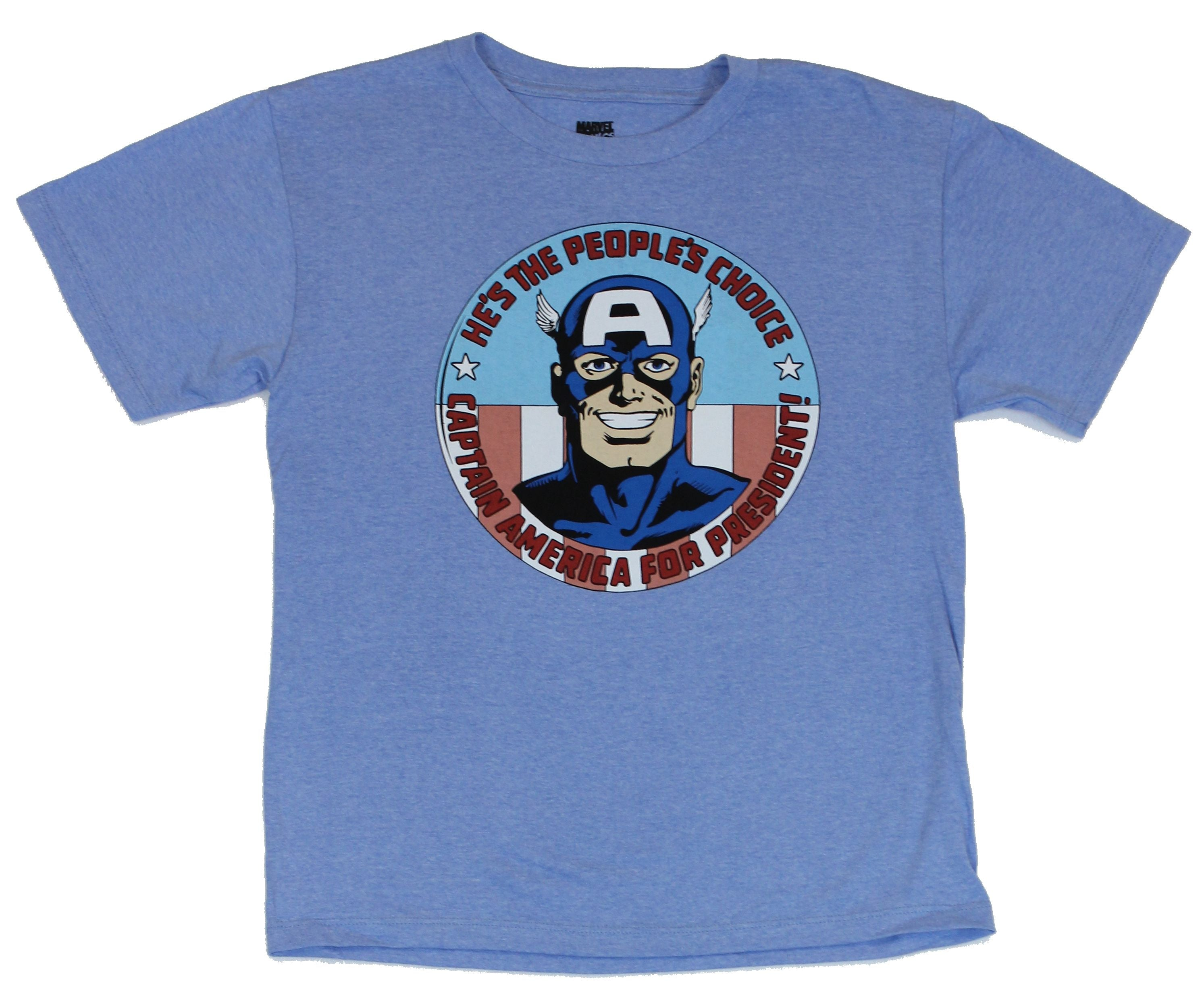 Captain America (Marvel Comics) Mens T-Shirt -  Cap For President Circle Image