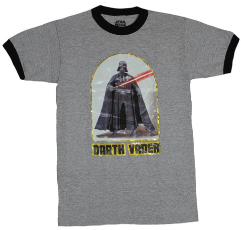 Star Wars Ringer Mens T-Shirt - retro Styled Darth Vader Iron On Image