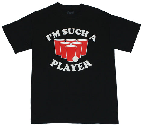 "Beer Pong  Mens T-Shirt - ""I'm Such A Player"" Pong Ball &  Cup Image"