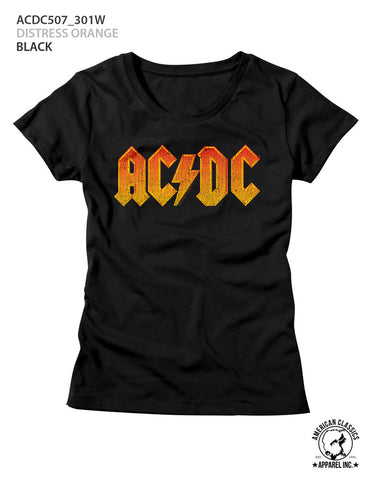 AC/DC Ladies S/S T-Shirt - Distress Orange - Solid Black