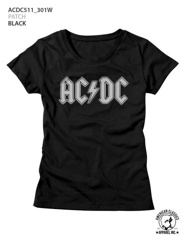 AC/DC Ladies S/S T-Shirt - Patch - Solid Black