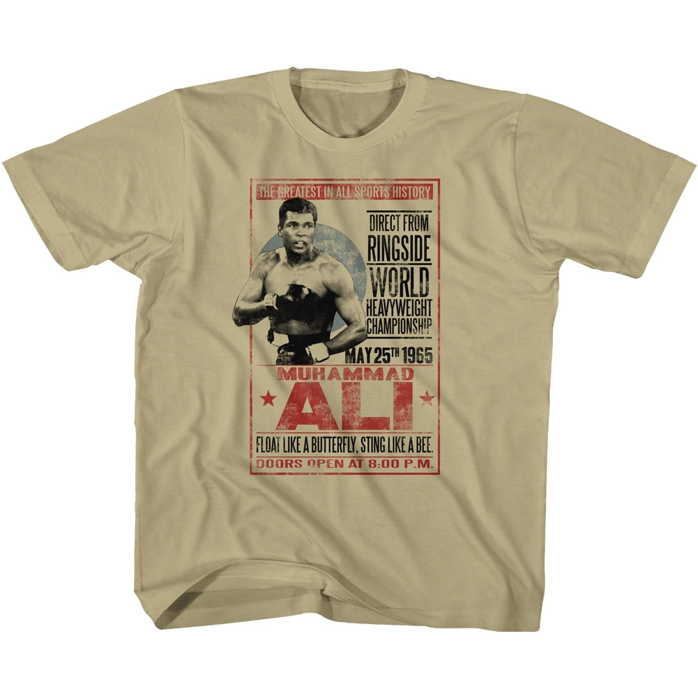Muhammad Ali Youth S/S T-Shirt - 1965 Poster - Solid Khaki