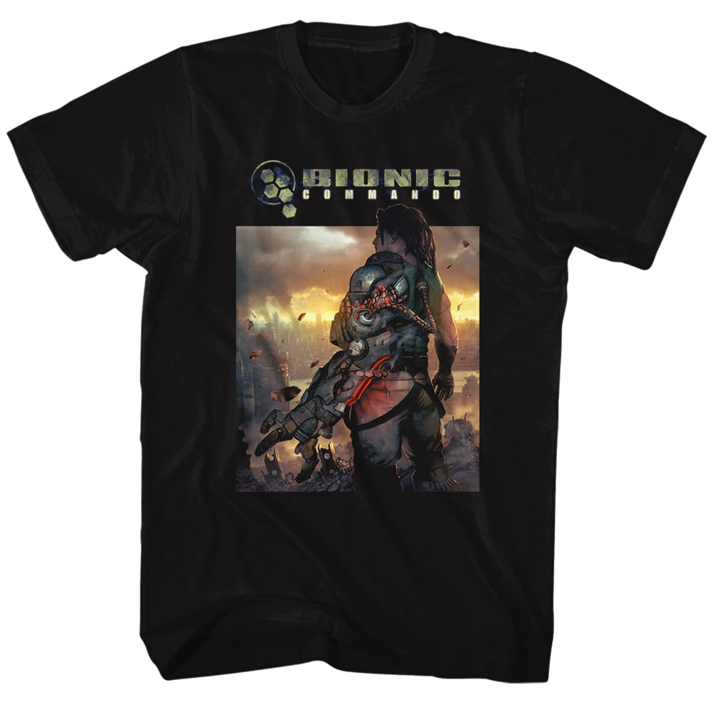 Bionic Commando Mens S/S T-Shirt - The World Burn - Solid Black