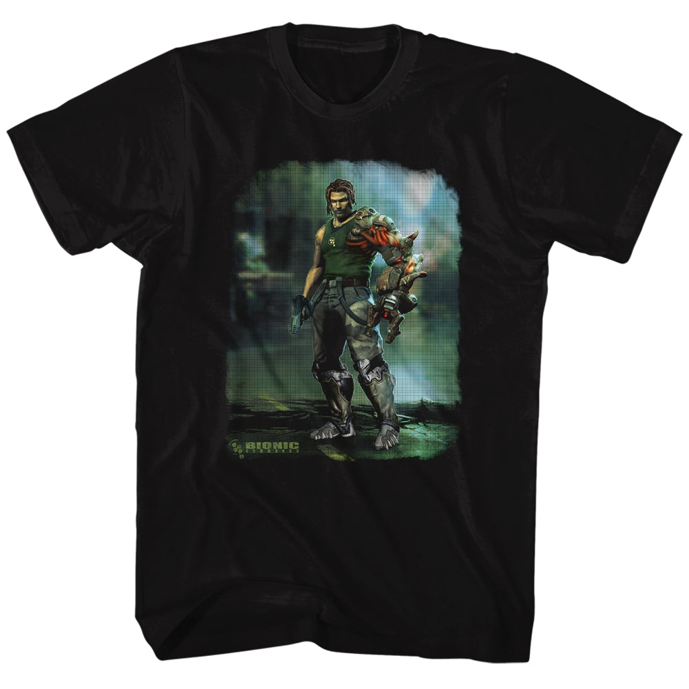 Bionic Commando Mens S/S T-Shirt - Damaged Road - Solid Black