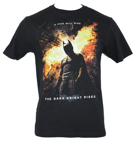 Batman  Mens T-Shirt - Dark Knight Rises Firery Logo Behind Batman - Inmyparentsbasement.com