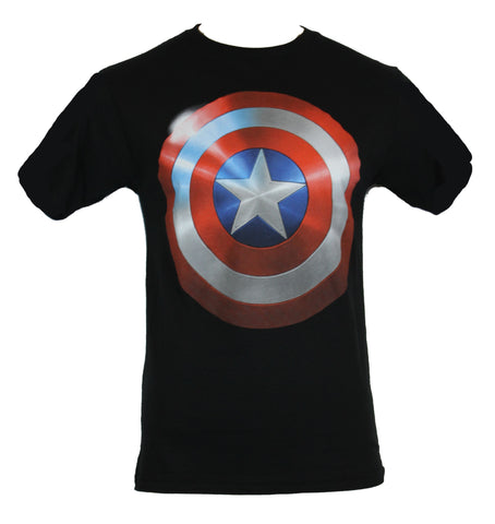 Captain America (Marvel Comics)  Mens T-Shirt - Shimmering Shield Logo - Inmyparentsbasement.com