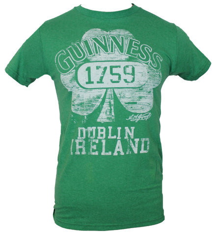 Guinness Beer  Mens T-Shirt -  Distressed Lined 1759 Clover Image Dublin - Inmyparentsbasement.com