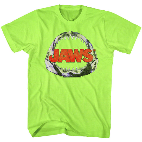 Jaws Adult S/S T-Shirt - Neon Jawbone - Heather Neon Mint Heather