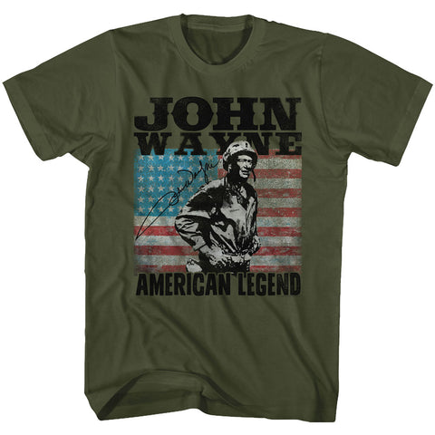 John Wayne Adult S/S T-Shirt - American Legend - Solid Military Green