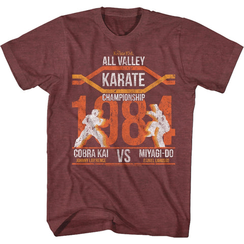 Karate Kid Adult S/S T-Shirt - All Valley Champ - Heather Vintage Maroon Heather