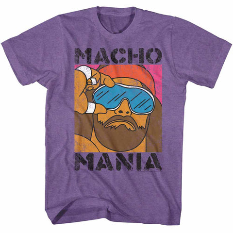 Macho Man Adult S/S T-Shirt - Mania - Heather Retro Purple Heather