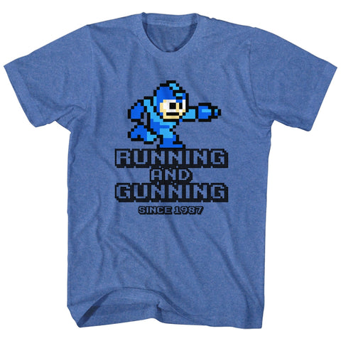 Mega Man Adult S/S T-Shirt - Running And Gunning - Heather Royal Heather