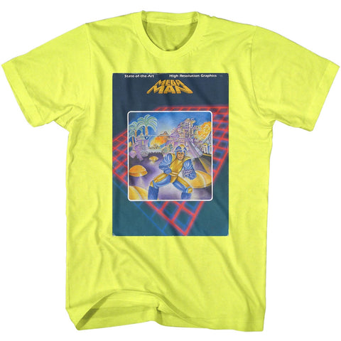 Mega Man Adult S/S T-Shirt - Mega Cover - Heather Neon Yellow Heather