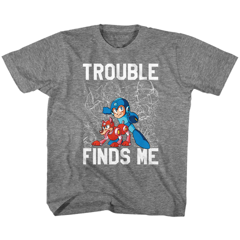 Mega Man Toddler S/S T-Shirt - Trouble - Heather Graphite Heather