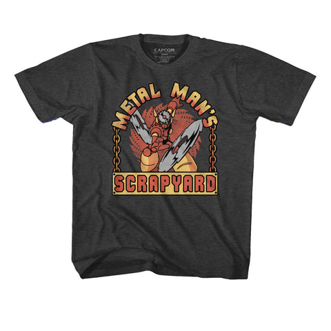 Mega Man Youth S/S T-Shirt - Scrapyard Sign - Heather Black Heather