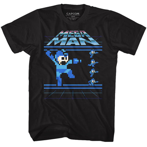 Mega Man Adult S/S T-Shirt - Megamen - Solid Black