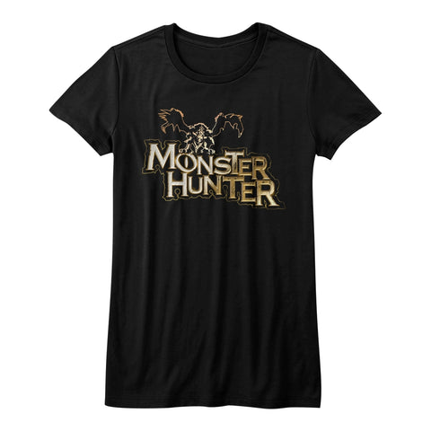Monster Hunter Juniors S/S T-Shirt - Mh Logo - Solid Black