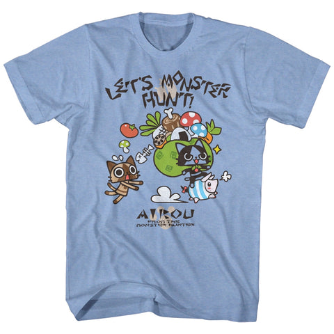 Monster Hunter Adult S/S T-Shirt - Airou Hunter - Heather Light Blue Heather
