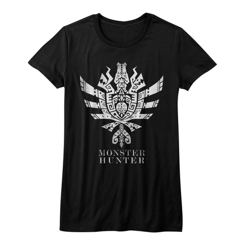 Monster Hunter Juniors S/S T-Shirt - Mh4U Symbol - Solid Black